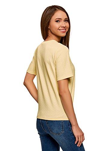 oodji Ultra Damen Gerade Geschnittenes T-Shirt Aus Strukturiertem Stoff Gelb (5000N)