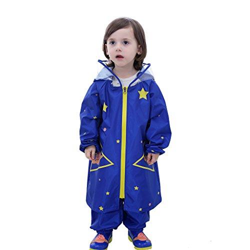 Enfant Poncho Pluie Cape de Pluie Poncho Imperméable Poncho à Capuche + Pantalon de pluie 2pcs ensemble, 4-6 Ans