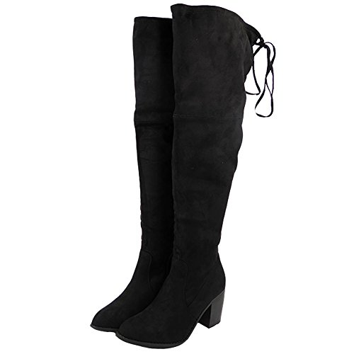 Womens Ladies Thigh High Boots Over The Knee Party Stretch Low Mid...