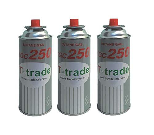 Hohe Qualität 3 Stück - Kartusche Gaskartusche GPL 250 g Art. KCG250 Idealer Lötkolben für Kamin oder Backofen, geeignet für Camping, Brunner -