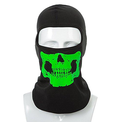 Sijueam Reflektierende Facemask UV Schutz Schädel Maske Under Helmet Balaclava Sturmhaube für Radfahren Skifahren Skelett Fullface Mask Kopfmaske Winddichte Mütze für Outdoor Aktivitäten One Size