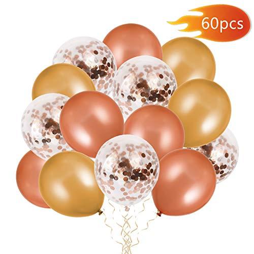 FORMIZON 60 Stück Luftballons Rose Gold + Champagner Gold Konfetti Ballons Pailletten Helium Ballons für Hochzeit Mädchen Kinder Geburtstag Party Deko