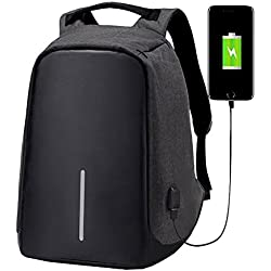 asdomo Unisex Diebstahlschutz Laptop Rucksack mit USB-Ladeanschluss Leinwand Business Travel College Schulranzen Rucksack, schwarz