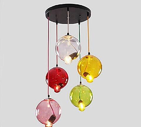 GRHF Kreatives Glas Disc Kronleuchter Wohnzimmer Post-Modern Schlafzimmer Led Restaurant Shop Farbe Glas Lampe Hoch 1.5M Scheibendurchmesser 60Cm, Lampe Abdeckung Breite 25Cm