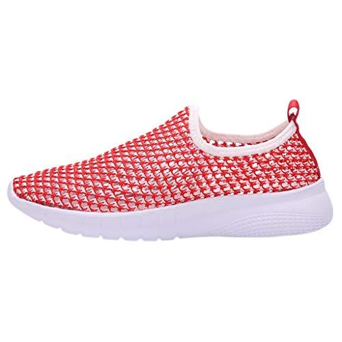 Damen Herren Freizeitschuhe Flache Sneakers Sportschuhe Laufschuhe Bequem Schnürer Turnschuhe Atmungsaktiv Laufschuhe Outdoor Schuhe Sneaker (EU:44, Rosa)