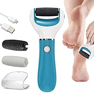 BOMPOW Electronic Foot File, Callus and Hard Skin Remover, Pedicure Tools with 2 Rollers and Rechargeable Foot Care Tool for Dry Dead and Cracked Feet, Blue