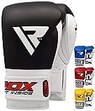 RDX Rindsleder Gel Sparring Boxhandschuhe Stanzen Handschuhe Trainings Muay Thai, Schwarz, 16oz
