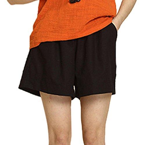 Minetom Femmes Short en lin Lindie élastique reins monochrome avec Poche Eté Casual Pantalons Courts Nouveau Noir