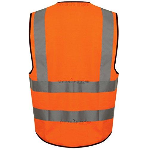 Executive Hi Viz Vis Weste Hohe Sichtbarkeit Reißverschluss Westen 2Band Reflektierende Sicherheit Contractor Sicherheit Tasche für Handys ID Holder Workwear Weste Jacke Top Gr. S-5X L, gelb Orange / HV331