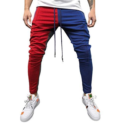 74ebad5b034e Kobay Solido Casuale Allentato Patchwork Uomini di Modo di Colore Sweatpant  Pantalone Jogger Pant(Rosso