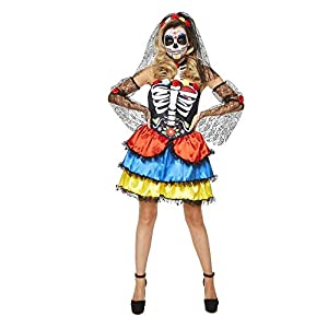 Karnival Costumes- Halloween Day of The Dead Senorita Disfraz, Multicolor, small (84184)