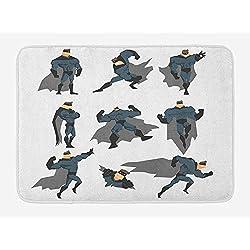 VTXWL Superhero Bath Mat, Fun Cartoon Man in Costume Posing Hero Flying Running with Superpowers Art Print, Plush Bathroom Decor Mat with Non Slip Backing, 23.6 W X 15.7W Inches, White Grey