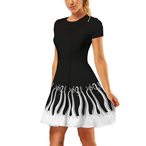 GOKOMO Ladies Beach Dress, Leopard Print V-Neck Bow Tie Irregular Swallowtail Chiffon Dress(Schwarz-a,X-Large)