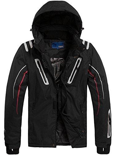 OZONEE Herren Winterjacke Skijacke Parka Kapuzenjacke Wärmejacke Windjacke Jacke Wintermantel Coat RED FIREBALL F802 SCHWARZ XL