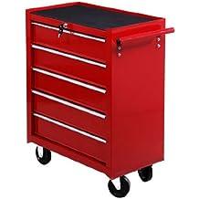 Homcom - Carro caja de herramientas taller movil con 5 cajones rojo chapa de acero nuevo