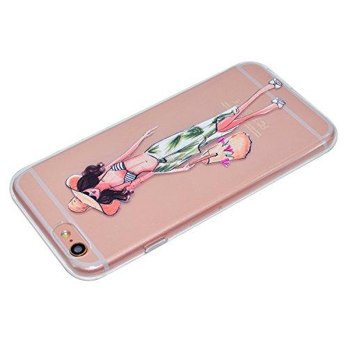 Ecoway Apple iPhone 6s Plus(5.5 Zoll ) Case Cover, Série Dream Girls TPU Transparent Soft Coquille Housse de Protection Housse Pour Téléphone Portable Pour Apple iPhone 6s Plus(5.5 Zoll ) - Girlfriend vent Xia Weiyi