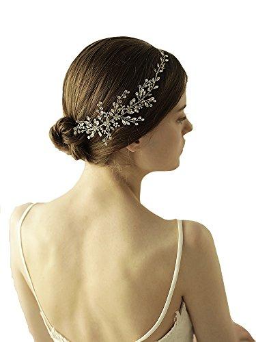 Göttin Silber Kristall Haarband Tiara–Bridal Hochzeit Kopfbedeckung Krone, mit Band