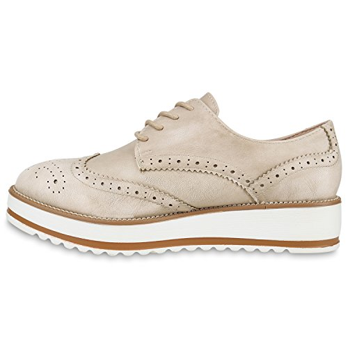 Damen Halbschuhe Dandy Style Brogues Profilsohle High Fashion Creme