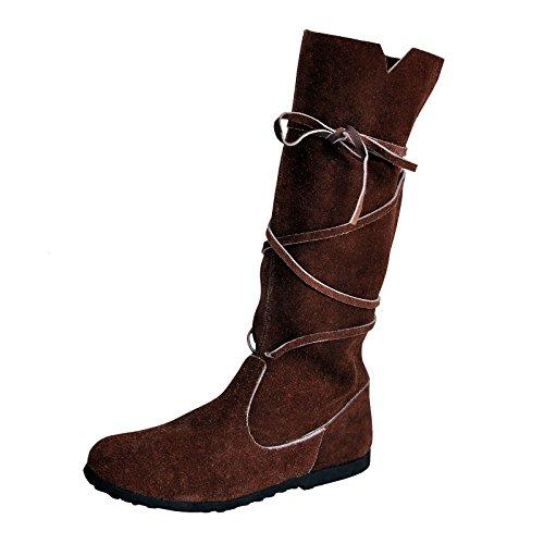 r Damen Schnürstiefel 36-41 Veloursleder Braun - 39 (Renaissance Erwachsene Schuhe)