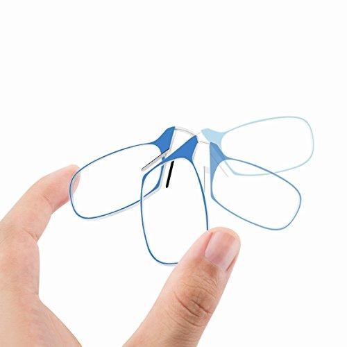 Occhiali da lettura, JAMMYLIZARD [RetroSpecs] Occhiali Unisex Ultra Slim senza Stanghette Diottrie + 2.00 con Custodia Compatta Portatile, BLU