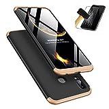 MISSDU kompatibel mit Premium Hart PC 360 Grad Hülle Huawei Honor Play Hülle + Panzerglas,3 in1 Handytasche Handyhülle Schutzhülle Cover - Schwarz+Gold