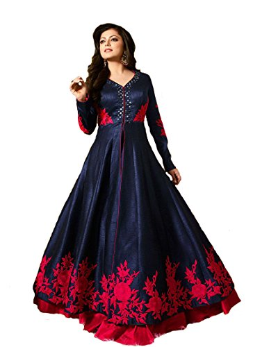 Pal Tex Fab Pal Tex Fab Special Stylish Fashion Glorious Blue Neck And Border Embroidered Banglori Silk Sarara Style Long Party Wear Suit Gown