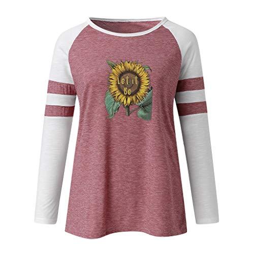 DOFENG Damen T Shirt Bluse Sweatshirt Damen Lange Ärmel Mode Locker Drucken Lässig O Hals Pullover...