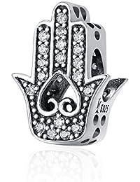 Inbeaut - Abalorio de mano de Fátima de auténtica plata de ley 925, apto para pulseras y collares, joyería de plata DIY