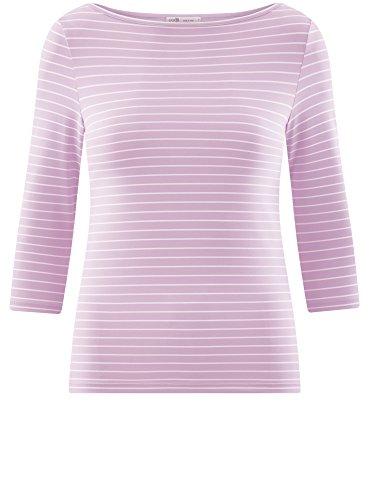oodji Collection Donna T-Shirt Basic con Maniche a 3/4 Viola (8010S)