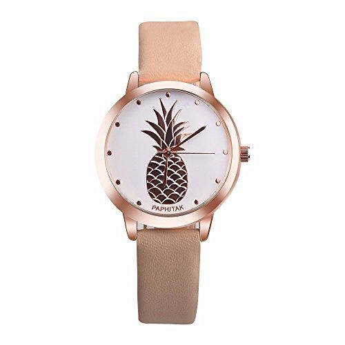 JiaMeng Classic Reloj Reloj de Cuarzo Anal¨gico de Cuarzo de Imitaci¨n de Cuero de pi?a para Mujer(Marr¨n)