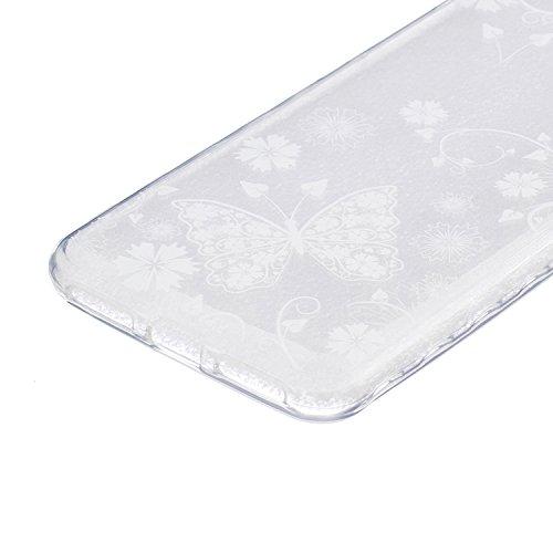 Ukayfe Custodia per Huawei Y5 II,Ultra Slim TPU Gel Gomma Silicone Copertura Case per Huawei Y5 II,Moda Serie Pattern Back Cover Crystal Skin Custodia Stilosa custodia di design Protettiva Shell Case  Farfalla Bianca