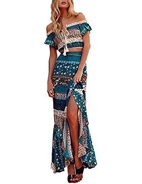 Mujer Conjuntos De Crop Top Y Falda Dos Piezas Elegantes Vintage Boho Impresión Floral Casual Fiesta Dresses Señoras...