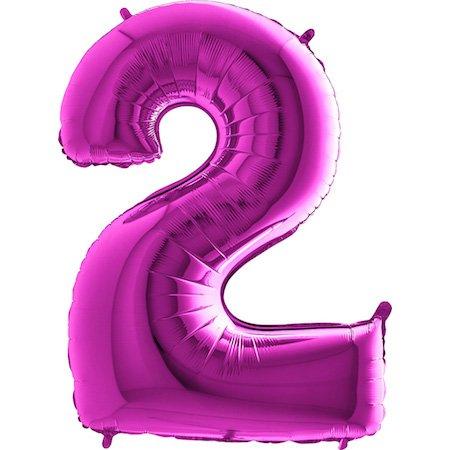 Trendario Folienballon Zahl 2 (Lila) - XXL Riesenzahl 100cm Ballon - Helium Luftballons für Geburtstag, Partydeko, Hochzeit (Zahl 0, Silber)