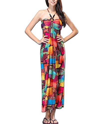 KAXIDY Femme Longue Robe de Soirée Sans Manches Robe de Cocktail Plage Partie Robes Style-04