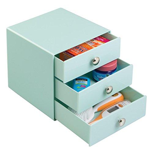 mDesign organiseur de la table à langer avec trois tiroirs – boîte de rangement avec tiroirs pour le rangement de produits de soin pour bébé – vert menthe