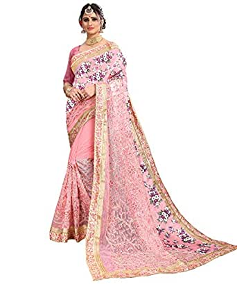 Being Banarasi Women's Light Pink Net & Silk Embroidery Saree with Blouse Piece(Free Size)