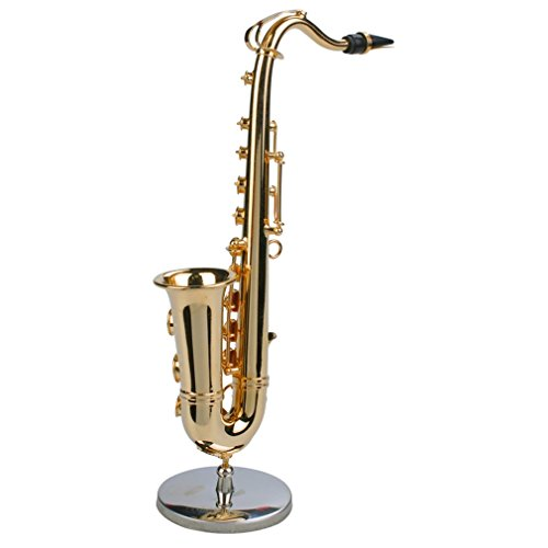 YTYCJSFH Mini-Saxophon Musikinstrumente, vergoldet, Miniatur-Saxophon, Dekoration zu Hause