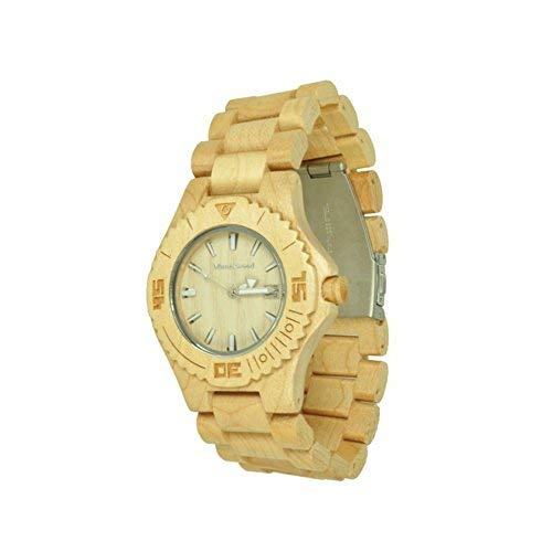 Munixwood Snow Holz Armbanduhr Ahornholz mit Datum und Uhrenbox