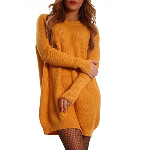 Damen Geripptes Strickkleid Long Pullover Oversize Senf