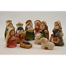 be4To Figuras de cerámica para portal de Belén, 11 piezas, pintadas a mano