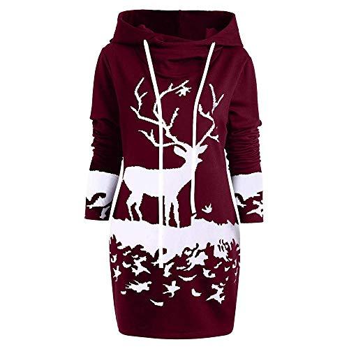 Biran merry christmas ladies renna monocromatica stampata con con cappuccio grazioso coulisse outing cosplay gonna mini abito sottile (color : winered, size : xl)