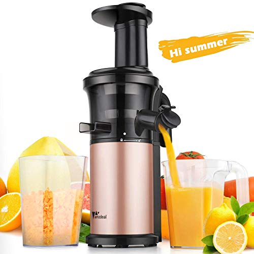 Amzdeal Slow Juicer Masticating Juicer Machine Cold Press Juicer 200W, with Reverse Function and Quiet Motor, Compact Juicer Creates Fresh, Cold and Nutrient Fruit/Veg Juice, BPA Free