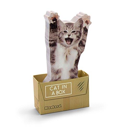 MUSTARD - Cat in A Box Sticky Notes I selbstklebende Notizzettel I Haftnotizzettel I klebend I Block I Klebenotizzettel I lustige Geschenkidee I Notizen für Kinder I Katzen Motiv - 150 Notizzettel