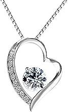 Pealrich Colganet y Pendientes de Mujer de Plata , La Forma de Corazón Cristal, SWAROVSKI Joyería Plata Mujer