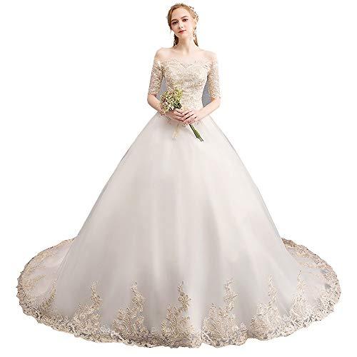 Frauen Hochzeitskleid Womens Brautkleid Braut Traum Prinzessin Long Tail Abnehmen Wort Schulter Gericht Large Size für die Hochzeit (Größe : S) -