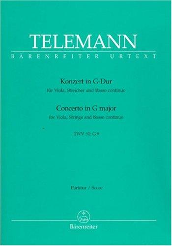 Konzert fr Viola, Streicher und Basso Continuo G-Dur TWV 51:G9