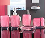 Bellabrunnen 5-teiliges Design Badset Acryl Kristall Look Seifenspender WC Badezimmer Set, Pink