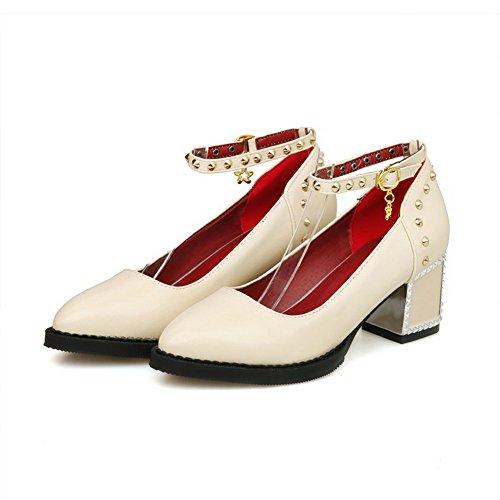 VogueZone009 Damen Schnalle Spitz Zehe Mittler Absatz Pu Leder Eingelegt Pumps Schuhe Cremefarben
