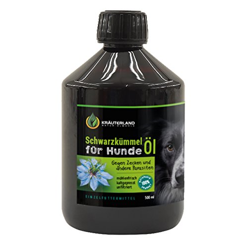 Schwarzkümmelöl für Hunde • 500ml • ungefiltert • 100% naturrein • mühlenfrisch direkt vom Hersteller Kräuterland Natur-Ölmühle
