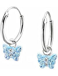 SL de Silver Pendientes de aro pendientes cristales pequeño Mariposa 925plata en caja de regalo